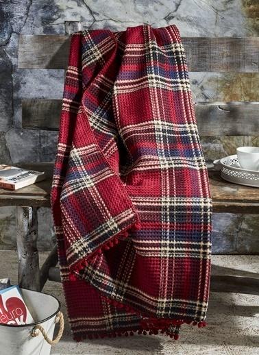 Komfort Home Çift Kişilik Ponponlu Pamuklu Skoç Battaniye Renkli